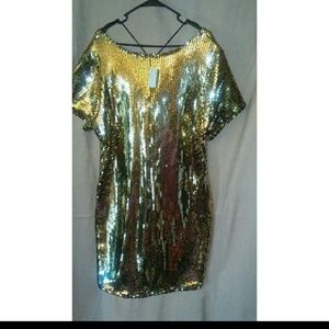 Charlotte Russe Dresses - Gold Metallic Dress SIZE 2X